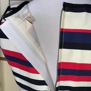 J. Crew Dresses - J Crew red black navy stripe dress size 0